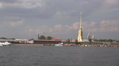 The Peter & Paul's Fortress walls and the Cathedral view from the Neva River Stock Footage