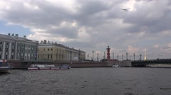 Historical buildings of the Spit of Vasilyevsky Island with a Rostral Column Stock Footage