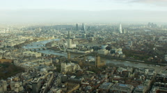 Aerial view of modern architecture in City of London UK Stock Footage