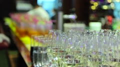 Buffet table with glasses of champagne Stock Footage