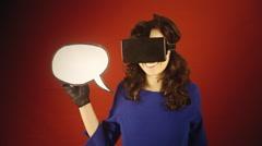 Virtual reality woman speech balloon blank - stock footage