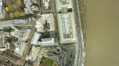 Aerial view MI5 building and River Thames London UK Stock Footage