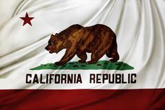 Closeup of silky California flag - stock photo