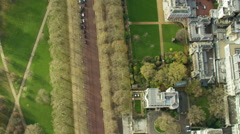 Aerial view of St James Park in City of London UK Stock Footage