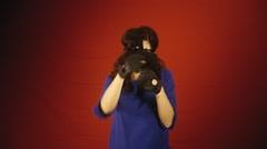 Virtual reality woman sports boxe win Stock Footage