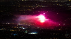 Rose Bowl Stadium, Los Angeles July 4th Firework Finale Timelapse Stock Footage