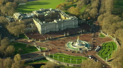 Aerial view of Victoria Memorial by Buckingham Palace London UK Stock Footage