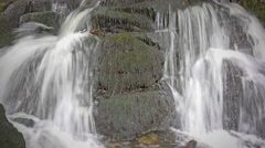 fresh bubbling waterfall over rocks (long exposure) - close up - stock footage