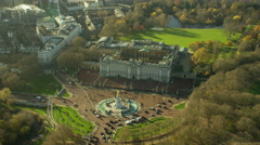 Aerial view of Buckingham Palace and Victoria Memorial London England Stock Footage