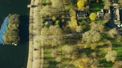 Aerial view of Serpentine and Kensington Gardens London UK Stock Footage