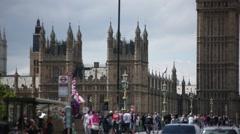 Big Ben and Westminster Bridge in London - stock footage