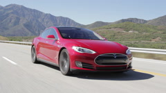 Model S Right Front Driving and Passing Camera Stock Footage