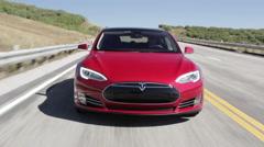 Tesla Model S driving Toward Camera Stock Footage