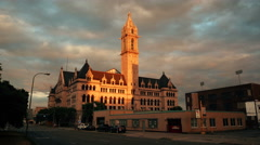 Old Post Office Buffalo New York Golden Afternoon Stock Footage