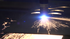Steel plant metal and iron plasma laser cutter Stock Footage