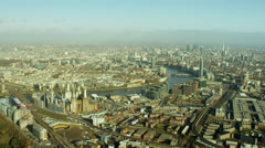 Aerial view of famous tourism sights City of London UK Stock Footage