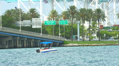 Small boat by port miami Stock Footage