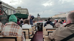 Frozen Tourists Waiting For Departure On Board The Pleasure Boat Stock Footage