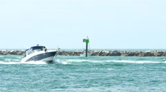 Boat entering Government Cut Miami Stock Footage