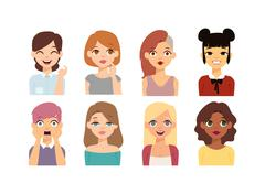 Woman emoji face vector icons Piirros