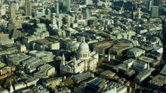 Aerial view of St Paul's Cathedral London UK Stock Footage