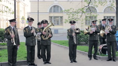 Military Band Orchestra Playing Concert For Passers. Victory Day, St. Petersburg - stock footage