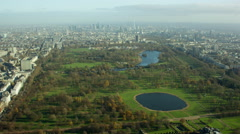 Aerial view of Hyde Park London UK Stock Footage