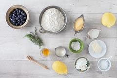 Lemon Blueberry Pancakes Ingredients Stock Photos