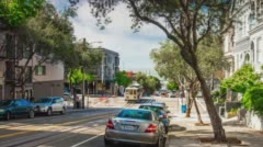Summer day san francisco famous tram hill ride panorama 4k time lapse usa Stock Footage