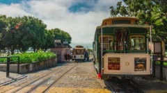 Summer day san francisco tram last stop panorama 4k time lapse usa Stock Footage