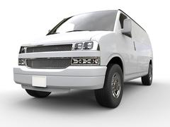 White van - front view closeup - 3D illustration Stock Illustration