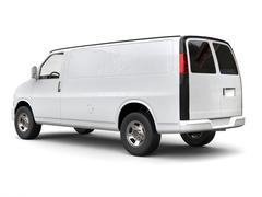 Modern white van - side tail view - 3D illustration Stock Illustration