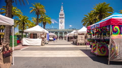 summer day san francisco port square market panorama 4k time lapse usa - stock footage