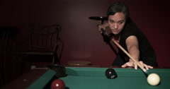 Lady Shooting Pool Dolly Right Medium Stock Footage