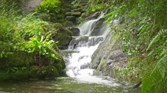 waterfall scenic landscape (long exposure) - Shropshire England - stock footage
