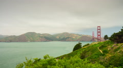 Golden gate bridge park bay morning panorama 4k time lapse san francisco usa Stock Footage