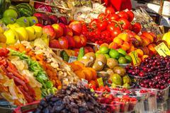 Fresh fruit market - colorful fruits selection - stock photo