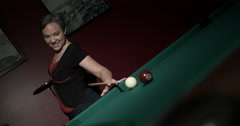 Lady Shooting Pool Behind Her Back Dutch Angle Stock Footage