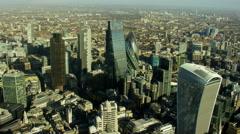 Aerial view of modern skyscraper buildings in London England - stock footage