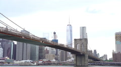 New York City and Brooklyn Bridge seen from DUMBO 4k Stock Footage