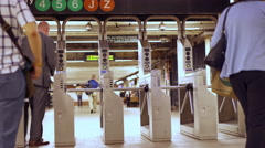 People entering and exiting turnstile in subway New York 4k Stock Footage