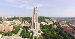 4K Aerial of the Cathedral of Learning in Pittsburgh Stock Footage