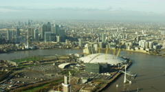 Aerial view of O2 Arena and River Thames London England - stock footage
