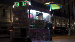 Fast Food stand in downtown New York City at night 4k Stock Footage
