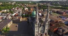 Aerial circle around a beautiful church in 4K Stock Footage
