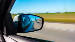 Summer day california car road trip side mirror view 4k time laspe usa Stock Footage