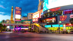 Sunset las vegas famous traffic strip road street panorama 4k time lapse usa Stock Footage