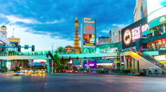 Famous las vegas sunset strip street traffic panorama 4k time lapse nevada usa Stock Footage