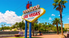 Summer day famous las vegas welcome sign street panorama 4k time lapse usa Stock Footage