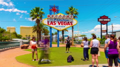 Summer day las vegas tourist famous welcome sign crowd 4k time lapse usa Stock Footage